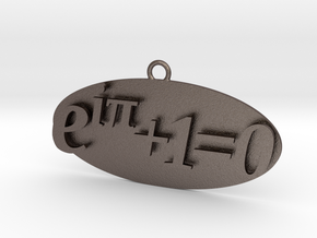 Euler identity Equation earring or pendant  in Polished Bronzed-Silver Steel
