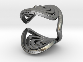 Serpentine Snake Ring: Ribbon Pattern in Polished Silver