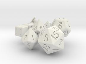 Full set of dice (d4,d6,d6,d8,d10,d00,d12,d20) in White Natural Versatile Plastic