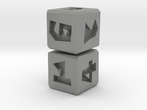 Low Poly Die .5 inch 2 pack in Gray PA12