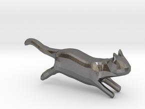 lowpolygon kitten in Polished Nickel Steel: Medium