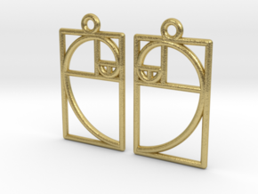 Golden Ratio Earrings (Medium) in Natural Brass (Interlocking Parts)