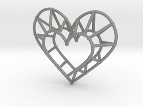 Minimalist Heart Pendant in Gray Professional Plastic