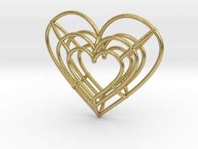 Small Wireframe Heart Pendant in Natural Brass