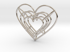 Small Wireframe Heart Pendant in Rhodium Plated Brass