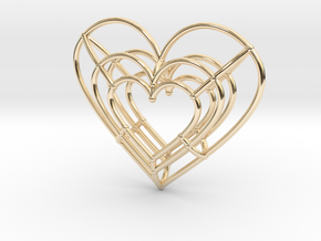 Small Wireframe Heart Pendant in 14k Gold Plated Brass