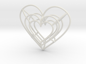 Medium Wireframe Heart Pendant in White Natural Versatile Plastic