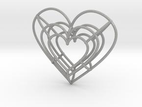 Medium Wireframe Heart Pendant in Aluminum