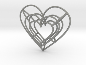 Medium Wireframe Heart Pendant in Gray Professional Plastic