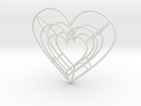 Large Wireframe Heart Pendant in White Natural Versatile Plastic
