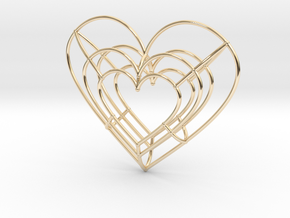 Large Wireframe Heart Pendant in 14k Gold Plated Brass