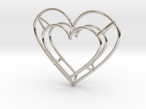 Small Open Heart Pendant in Rhodium Plated Brass