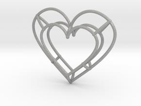Small Open Heart Pendant in Aluminum