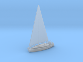 SailBoat Ver02 Scale N. No bumpers in Smooth Fine Detail Plastic