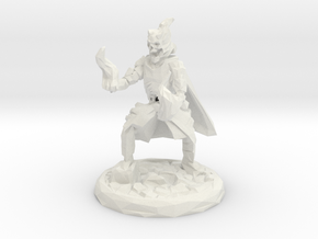 Skull Mage With Fire Hands Low Poly Version in White Natural Versatile Plastic