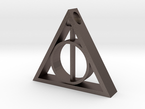 Deathly Hallows Pendant: V1 in Polished Bronzed-Silver Steel