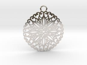 Ornamental pendant no.5 in Rhodium Plated Brass