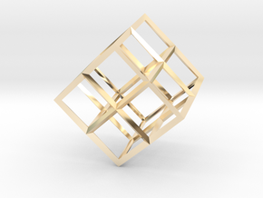 Cube Wireframe in 14K Yellow Gold