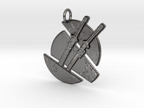 Split Moon Emblem in Polished Nickel Steel