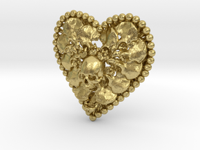 Heart Bone Pendant in Natural Brass