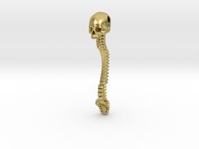 Skull Vertebrae Bone Pendant in Natural Brass