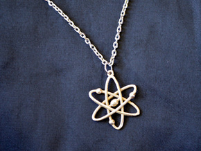 Atom Keychain or Pendant in Polished Bronzed Silver Steel