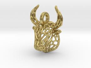 Bull Pendant in Natural Brass