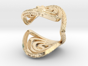 Serpentine Snake Ring: Checkered Pattern in 14k Gold Plated Brass