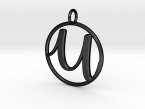Cursive Initial U Pendant in Matte Black Steel
