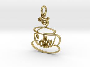 Hand Drawn Coffee Pendant in Natural Brass