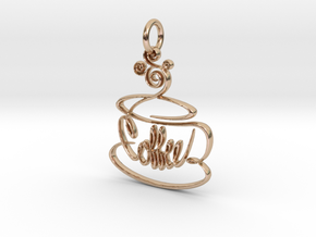 Hand Drawn Coffee Pendant in 14k Rose Gold