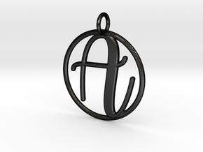Cursive Initial A Pendant in Matte Black Steel