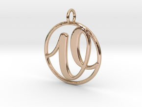 Cursive Initial V Pendant in 14k Rose Gold