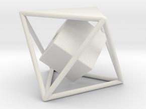 Dual Solids Octahedron-Cube in White Natural Versatile Plastic