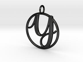 Cursive Initial Y Pendant in Matte Black Steel