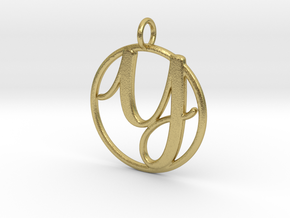 Cursive Initial Y Pendant in Natural Brass