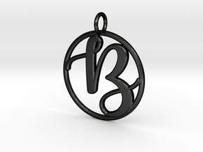 Cursive Initial B Pendant in Matte Black Steel
