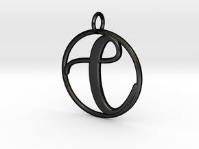 Cursive Initial C Pendant in Matte Black Steel