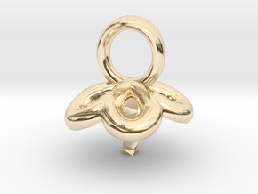 Single Pearl Flower Style Pendant in 14K Yellow Gold