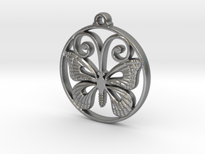 Monarch Butterfly Pendant in Natural Silver