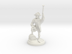 Orc Pirate with Gun on 28 MM base in White Natural Versatile Plastic