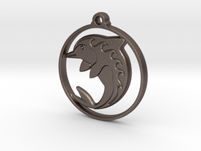 Dolphin Pendant in Polished Bronzed-Silver Steel