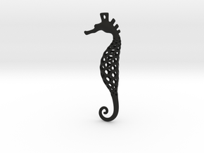 Seahorse Pendant in Black Natural Versatile Plastic: Medium