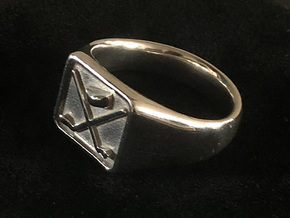 Hockey Ring in Fine Detail Polished Silver: 11.75 / 65.875