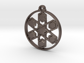 Snow Flake Pendant in Polished Bronzed-Silver Steel