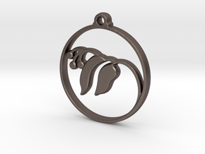 Floral Pendant in Polished Bronzed Silver Steel