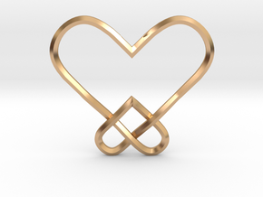 Double Heart Knot Pendant in Polished Bronze