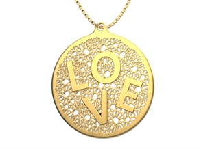 LOVE Word Pendant  in Natural Silver: Medium