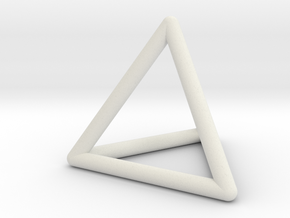 Tetrahedron wireframe in White Natural Versatile Plastic: Small