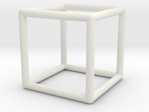 Hexahedron Wireframe in White Natural Versatile Plastic: Small